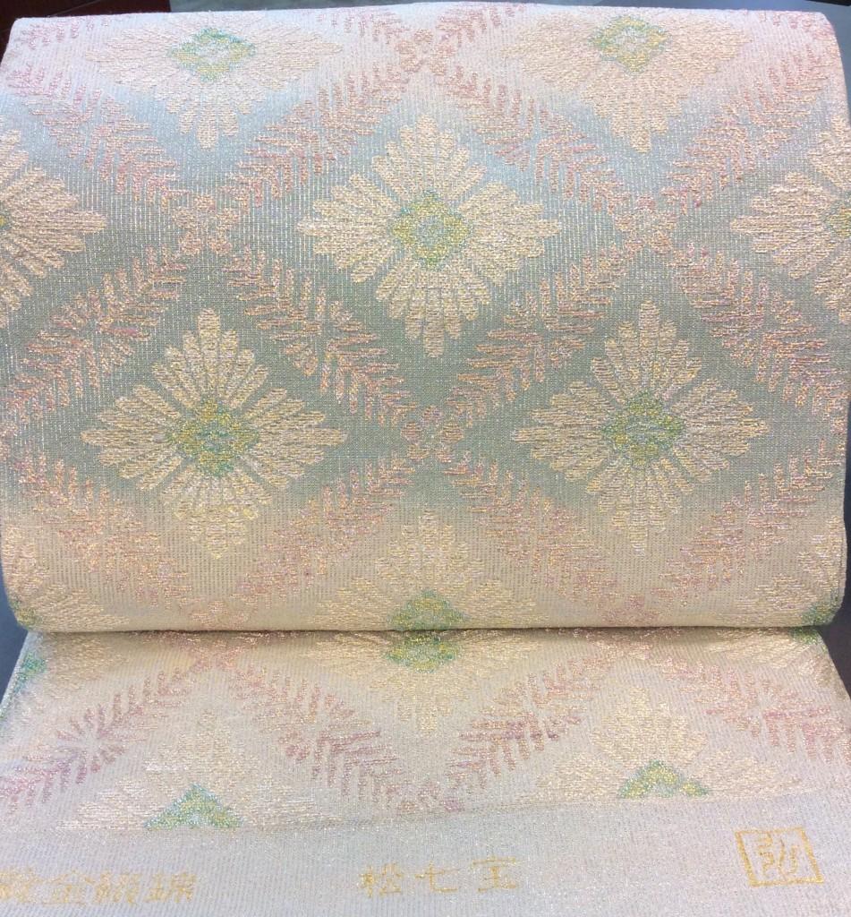 枡屋高尾 撚金綴れ袋帯 ブルー お太鼓の形