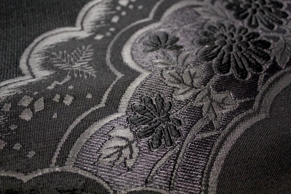 紋付用つづれ織り帯 喪服用帯 黒