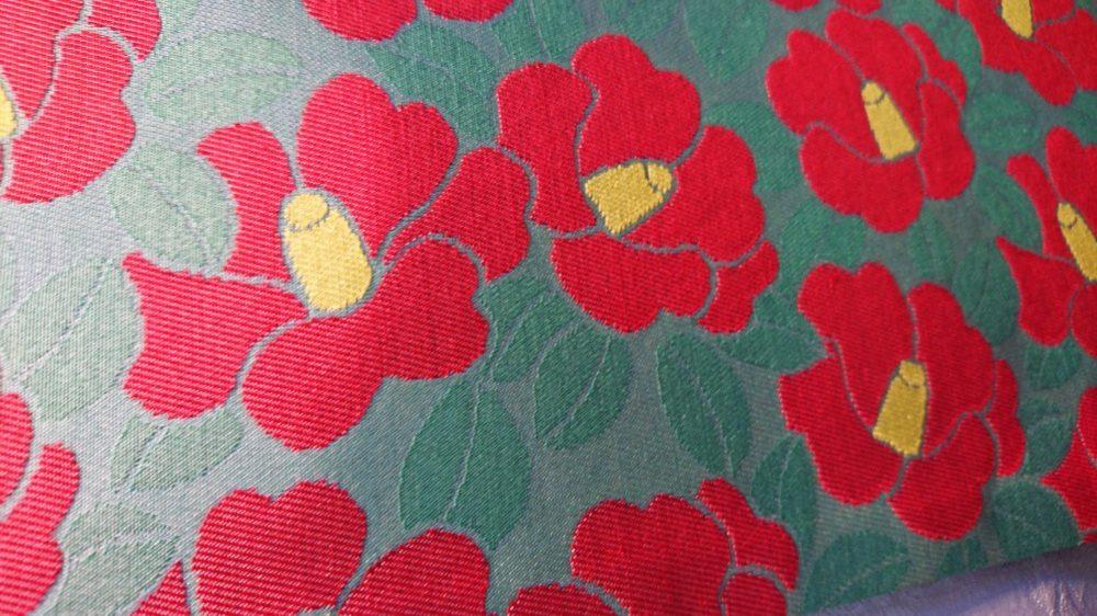 半幅帯 椿 赤 リバーシブル