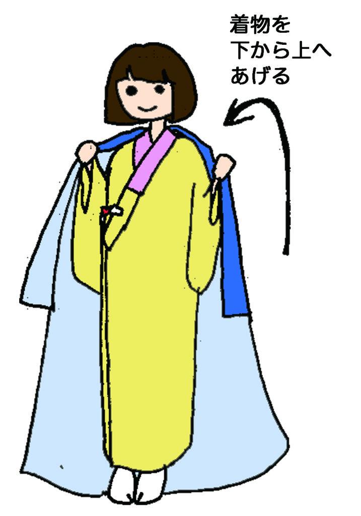 着物を羽織る