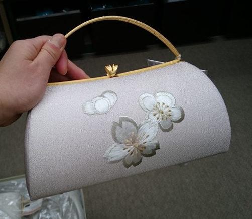 薄ピンク地桜刺繍バッグ 裏